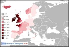 Distribution of haplogroup R1b-L21 (S145) in Europe