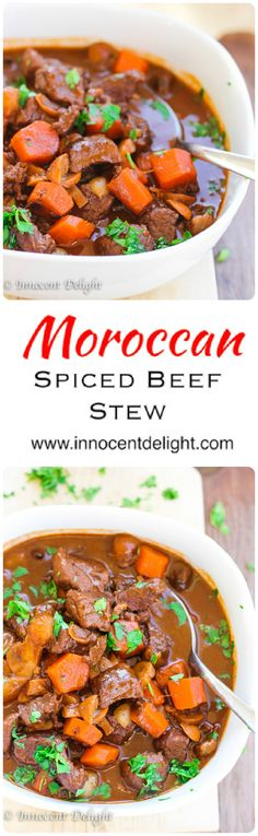 Spiced Beef Stew Moroccan Spiced Beef Stew - comfort food at its best with some exotic spices.Moroccan Spiced Beef Stew - comfort food at its best with some exotic spices. Beef Recipes, Cooking Recipes, Healthy Recipes, Soup Recipes, Chicken Recipes, Morrocan Food, Spiced Beef, Exotic Food, Beef Dishes
