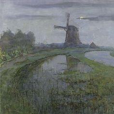 Oostzijdse Mill along the River Gein by Moonlight, Piet Mondriaan, c. 1903 - Rijksmuseum