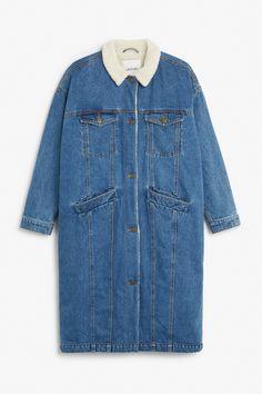 Monki Image 1 of Faux shearling denim coat in Blue Dark