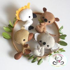 AUSTRALIAN BABY ANIMALS - SET OF FOUR (PDF) These adorable guys are quick, easy, and fun to make, but also so versatile! You can make a lovely garland for a kids room or display them as gorgeous nursery decor; even better, you can add them to a very cute baby mobile. This PDF
