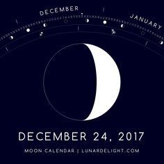 Sunday, December 24 @ 10:30 GMT  Waxing Crescent - Illumination: 31%  Next Full Moon: Tuesday, January 2 @ 02:25 GMT Next New Moon: Wednesday, January 17 @ 02:18 GMT