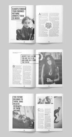 Fashion Magazine Layout - 40 modern pages Magazine Page Design, Magazine Page Layouts, Mise En Page Magazine, Graphic Design Magazine, Editorial Design Magazine, Magazine Design Inspiration, Editorial Layout, Magazine Cover Layout, Editorial Page