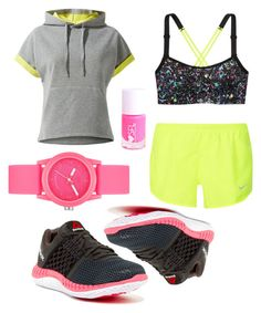 """""""Fluo Workout"""" by barbara-lancianese ❤ liked on Polyvore featuring MANGO, Victoria's Secret, NIKE, Reebok and Skechers"""