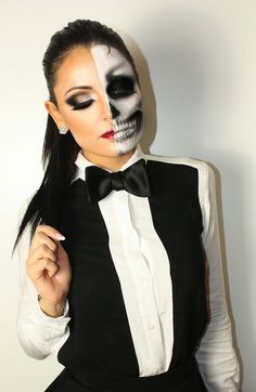 why not try a sexy and scary two face makeup look for halloween this year makeup beauty. Black Bedroom Furniture Sets. Home Design Ideas