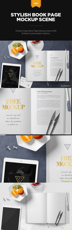 Amazing background is included in this PSD but you can also use your own one. #free #freebie #mockup #psd #photoshop #book #card #pen #plate #iPad #branding