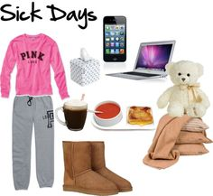 A fashion look from November 2012 featuring crew neck shirts, long sweatpants and ugg australia boots. Browse and shop related looks. Cozy Outfits, Lazy Day Outfits, Sick Day Essentials, Pink Nation, Cold Remedies, Pajama Party, Lazy Days, Girl Day, Pink Love