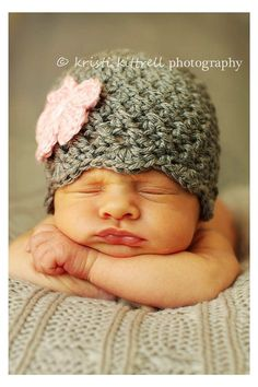 Crochet Baby Hat - Girl Gray with Pink Flower Hat - Ready to Ship - Newborn