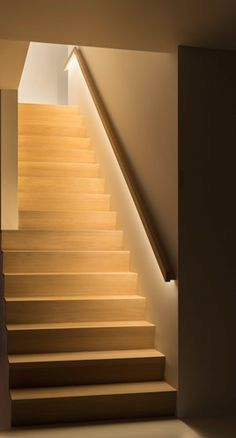 Stairway Lighting Ideas For Modern And Contemporary Interiors Most Popular Light for Stairways, Check It Out 🙂 Stair Handrail, Staircase Railings, Stairways, Staircase Landing, Stair Risers, Bannister, Basement Stairs, House Stairs, Interior Lighting