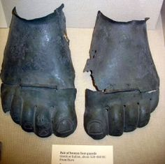 Bronze foot armor, Greek or Italian, about 520-480 BC from Ruvo, The British Museum.