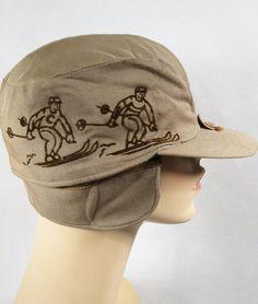 Vintage Khaki Embroidered Ski Skiiing Cap NOS Sz 6 - Mens Vintage Fashions on Ruby Lane Vintage Children, Vintage Men, Vintage Fashion, Vintage Baby Clothes, Headgear, 1940s, Skiing, Baseball Hats, Cap
