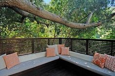 mod fence with bench seating - create a cozy nook
