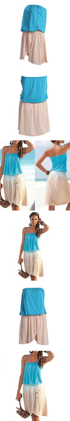 2pcs Summer Women Sexy Backless Boat Neck Tube Top and Short Skirt