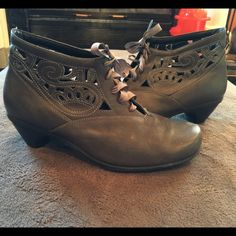 NAOT booties Gray lace up booties with a pretty cut outs..has scuffing on toes, couple in back, and minor threads coming loose at openings (see pics) NAOT Shoes Ankle Boots & Booties