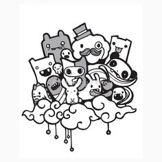 Cool graffiti monster characters - quotes of the day Cute Doodle Art, Doodle Art Letters, Doodle Art Designs, Doodle Art Drawing, Doodle Art Journals, Doodle Patterns, Doodle Monster, Cartoon Drawings, Cute Drawings