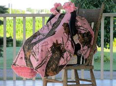 Pink Camo Infant Carseat Canopy OR Crib Blanket, Mossy Oak Breakup, Baby Blanket, Pink Minky Lining, Pink Bows, Baby Canopy, Infant Cover by HannahsHomestead2 on Etsy https://www.etsy.com/listing/197588156/pink-camo-infant-carseat-canopy-or-crib