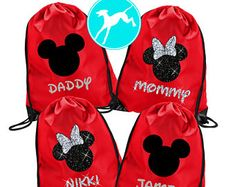 Disney Bags Backpack drawstring family set minnie mickey mouse pouch vacation disneyland red Matching cute glitter bow personalized name