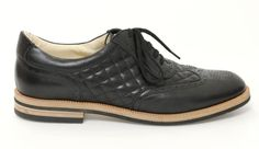 Chanel Black Leather Quilted Wingtip Oxfords 13S Size 40 #Chanel #Oxfords