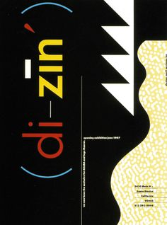 """""""Di - Ziń"""", (June 1987), [Furniture, Lighting, Architecture and Interiors Design], Santa Monica, (California) - Advertisement for opening exhibition designed by 'April Greiman Inc.' - GraphicArt and Design Logo by April Greiman (b. 1948, NyC., American)"""