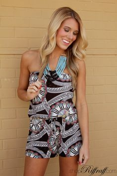 Some girls think that they can't wear rompers… we don't want to hear it! Anyone can rock a romper, and this is the one you should try! Our Sidewalks and Gelato Romper is flattering on girls of any shape or size. The pattern is fun for spring, but also neutral enough that it is easy to accessorize. Make this romper yours by shopping today on shopriffraff.com! #FREESHIPPING