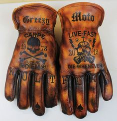 Image of Carpe Diem / Live Fast, Which Whenever Custom Leather Gloves .- Image of Carpe Diem / Live Fast, Which Whenever Custom Leather Gloves Are Used – General – - Biker Gloves, Leather Gloves, Leather Bags, Leather Motorcycle Gloves, Motorcycle Gear, Motorcycle Accessories, Gants Moto Vintage, Hand Gloves, Riding Gear