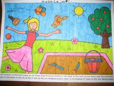Kleurplaat van Madelein 8 jaar, ik word er vrolijk van met al die kleurtjes!