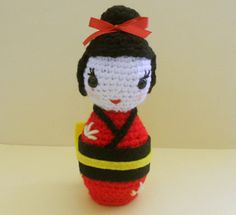 Crocheted Kokeshi Doll - scroll to the middle