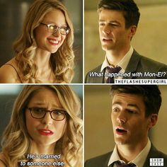 That look when you just know. Because before Iris and Barry I think she was engaged to Eddie. The Cw Shows, Dc Tv Shows, Best Tv Shows, Favorite Tv Shows, Kara Danvers Supergirl, Supergirl 2015, Supergirl And Flash, Molduras Vintage, Superhero Shows
