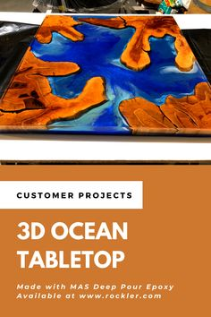 Rockler customer P. E. made this cool 3D ocean end table using MAS Deep Pour Epoxy, available at www.rockler.com. #oceantable #rivertable #epoxy #woodworking #woodworkingprojects Craft Show Ideas, Consumer Products, Outdoor Projects, Wood Crafts, Woodworking Projects, Wedding Gifts, The Cure, It Cast