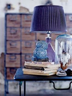 owl, purple lamp & wood chest of drawers
