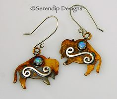 Patina Sterling Silver Buffalo Earrings with Light Blue Opal Cabochons and Mystic Spirals, Yellowstone Bison Earrings by SerendipDesignsJewel on Etsy https://www.etsy.com/listing/494610543/patina-sterling-silver-buffalo-earrings