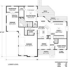 First Floor Plan of Craftsman   Traditional   House Plan 74816