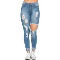 High Waisted Distressed Skinny Jeans in Blue (Plus Sizes Available) ($75) ❤ liked on Polyvore featuring jeans, high-waisted jeans, plus size high waisted skinny jeans, plus size distressed jeans, distressed skinny jeans and plus size ripped skinny jeans