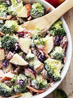 Broccoli Apple Salad will be one of the best salads that you make!! So many amazing flavors and textures and the creamy dressing on top is TO DIE for!