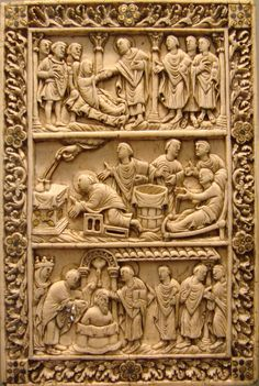 """Late Carolingian ivory relief, c. 870, showing both the two different legends of the origins of the Sainte Ampoule. In the middle two vials are filled by the Hand of God, as the """"moribund pagan"""" waits to the right. At bottom the dove of the Holy spirit delivers the filled ampoule for the baptism of Clovis I. Musée de Picardie à Amiens. Photo from Wikipedia"""