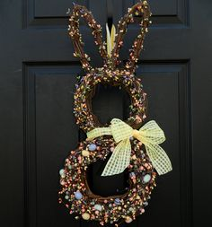 Easter Wreath - Bunny Wreath - Spring Wreath - Easter Door Decor. $65.00, via Etsy.