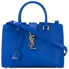 SAINT LAURENT baby 'Cabas Monogram' tote (14.150 HRK) ❤ liked on Polyvore featuring bags, handbags, tote bags, bolsos, leather handbags, monogrammed leather tote, leather tote, blue leather tote and monogram tote