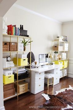 IKEA VITTSJO hack using gold spray paint and contact paper that looks like real marble, home office with pops of yellow