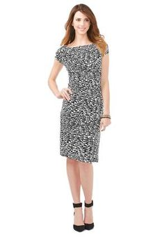 8da99d7c03e Cato Fashions Black and White Side Ruched Dress-Plus  CatoFashions Plus  Dresses