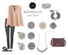 """Complete any outfit with your Magnolia and Vine Jewellery and Accessories. """"Magnolia and Vine Soft Pink and Grey"""" by magnoliaandvine on Polyvore Contact Roberta Kirk www.mymagnoliaandvine.ca/ROBBIKIRK/"""