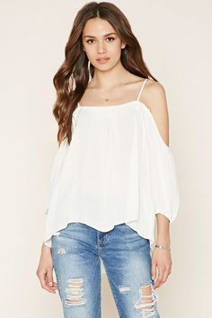 Forever 21 Contemporary - A crinkled woven top featuring a crochet-paneled front with adjustable cami straps, off-the-shoulder 3/4 sleeves, and elasticized cuffs.