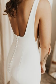 Wedding dresses simple - Sydney by Alyssa Kristin Available at Minneapolis, Dallas, Denver, Miami, Seattle + Portland a&bé bridal shops Square neckline fitted crepe wedding dress with thick straps and low back Modern B Pale Blue Bridesmaid Dresses, Blue Bridesmaids, Crepe Wedding Dress, Tea Length Wedding Dress, Wedding Dress Buttons, Wedding Dress Fabric, Unique Wedding Dress, Square Wedding Dress, Tailored Wedding Dress