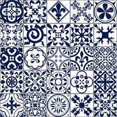 Vector Illustration of Moroccan tiles Seamless Pattern for Design, Website, Background, Banner. Spanish element for Wallpaper, Ceramic or Textile. White and Blue - stock vector Morrocan Patterns, Tile Patterns, Textures Patterns, Blue Moroccan Tile, Moroccan Design, Moroccan Decor, Pattern Texture, Tiles Texture, Medieval Pattern