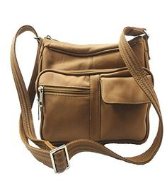 Roma Leathers 7081 Light Brown Concealed Carry Leather Gun Purse with Organizer