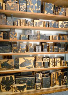 This shot, from London based artist David Gentleman's home, shows his woodblocks in an enviable display Plats du Jour illustrator