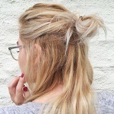 half bun blonde