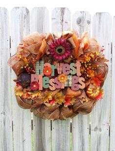 Deco Mesh Wreath  Fall Wreaths with Harvest by BackRoadsFaith, $98.00