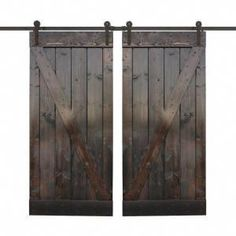 TRUporte 36 in. x 84 in. Cherry MDF Frosted Glass 1 Lite Design Barn Door with Rustic Sliding Door Hardware - The Home Depot - July 27 2019 at