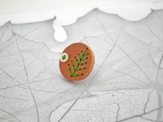 Wood Green Leaf Button Ring Conifer Seedpod Ring by P8ButtonArt