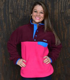 Patagonia Women's Lightweight Synchilla Snap Fleece Pullover in Radiant Magenta with Dark Currant — The Squire Shop
